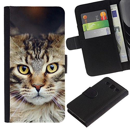 EuroCase - Samsung Galaxy S3 III I9300 - Maine coon norwegian forest cat - Cuero PU Delgado caso cubierta Shell Armor Funda Case Cover