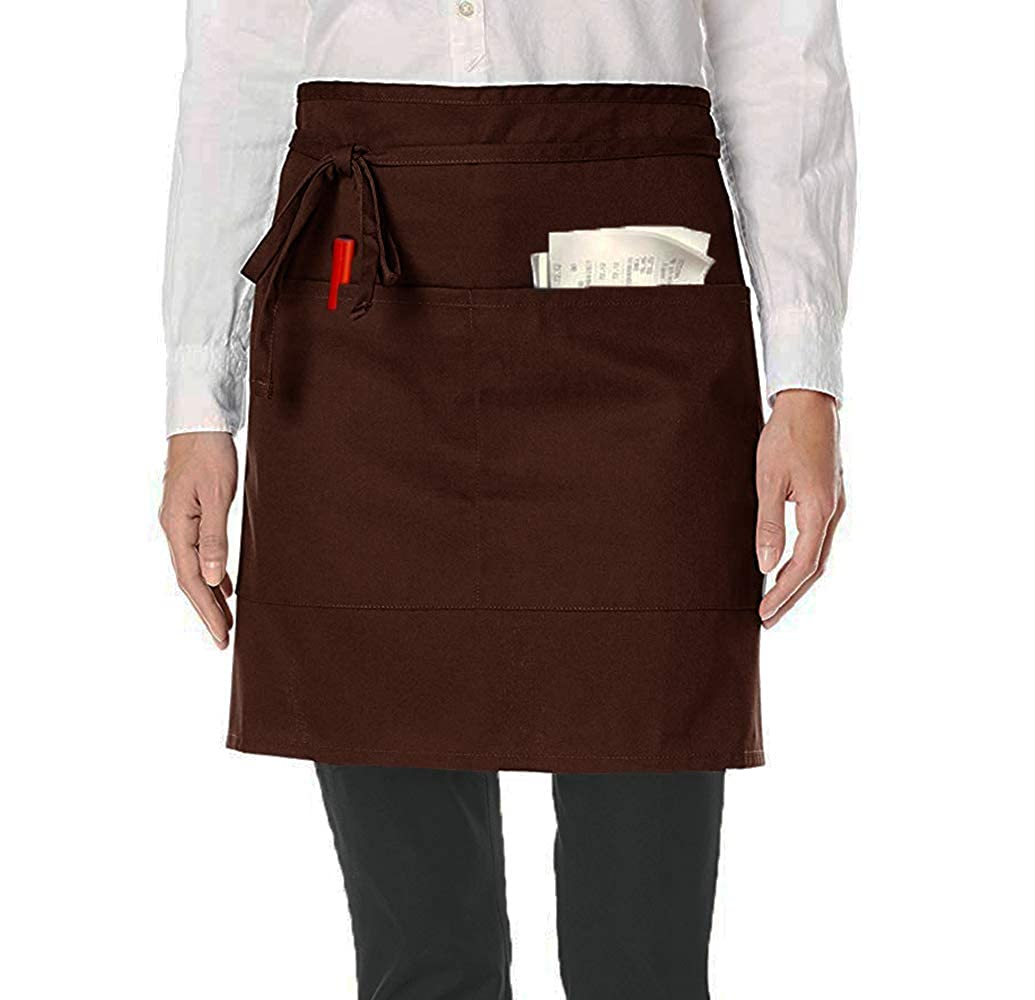 Waist Apron With Pockets Half Aprons Short Apron Chefs Waiter Waitress Apron for Men Women Home Kitchen Restaurant Work Soft