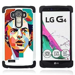 For LG G4 H815 H810 F500L - POLYGON ORANGE TEAL REDHEAD RETRO Dual Layer caso de Shell HUELGA Impacto pata de cabra con im??genes gr??ficas Steam - Funny Shop -