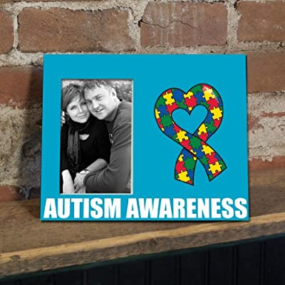 VictoryStore Gift Frame - Autism Awareness Picture Frame #3 - Autism Awareness with Puzzle Piece Heart Ribbon - Holds 4