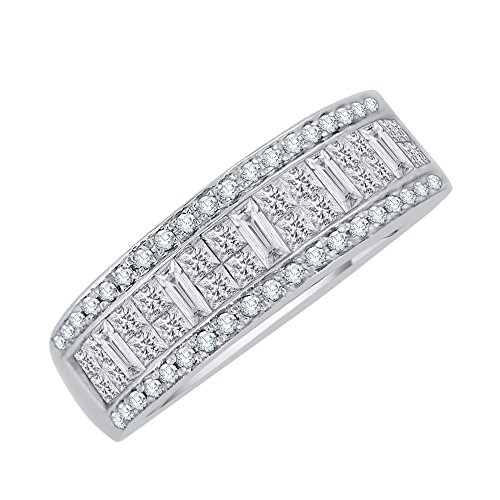 Round, Baguette and Princess Cut Diamond Anniversary Ring in Sterling Silver (1 1/2 cttw) (GH Color, I2-I3 Clarity) (Size-7.75) by KATARINA