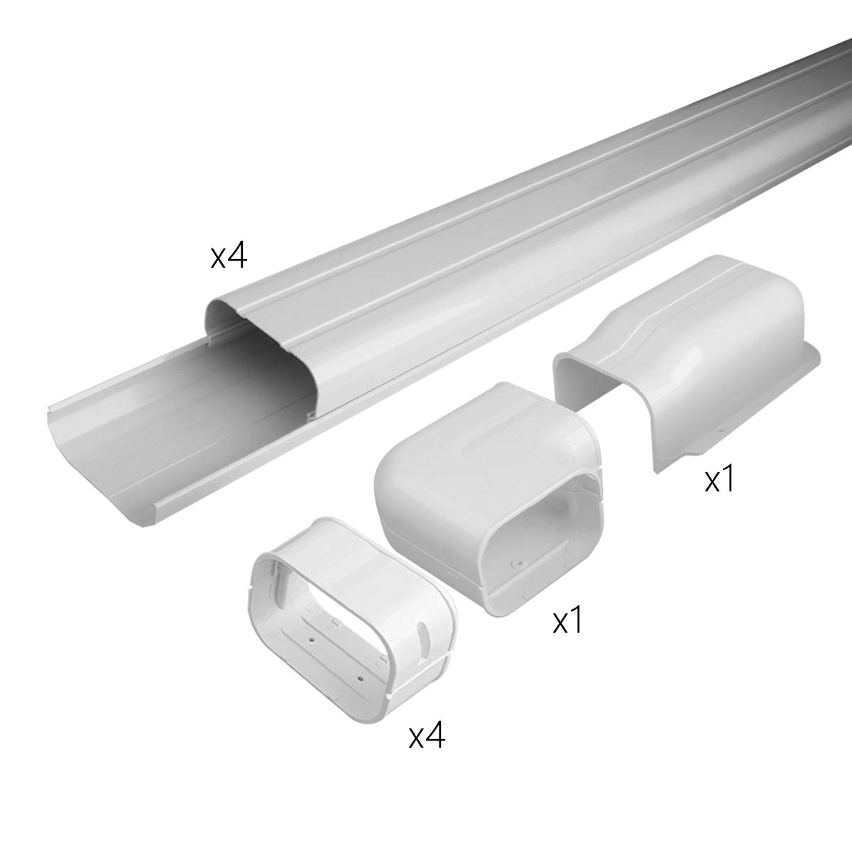 Air Jade 4'' 14 Ft AC Line Set Cover Kit, Decorative PVC Tubing Cover for Mini Split and Heat Pumps & Central Air Conditioner, Condenser