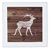 3dRose Russ Billington Designs - White Painted Stag on Brown Weatherboard- Not Real Wood - 20x20 inch quilt square (qs_261821_8)