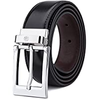 Tonly Monders Men's Reversible Leather Belt For Jeans Black
