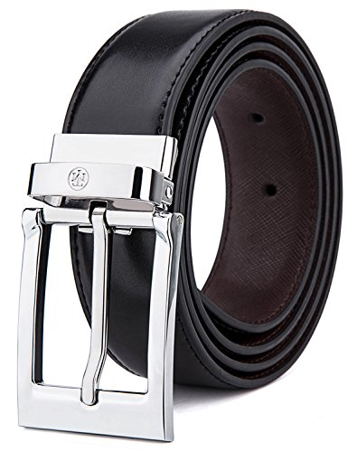 - Tonly Monders Reversible Men's Leather Belt, Black/Brown, 1.25 Inch Wide, 28 30 32 34 Waist
