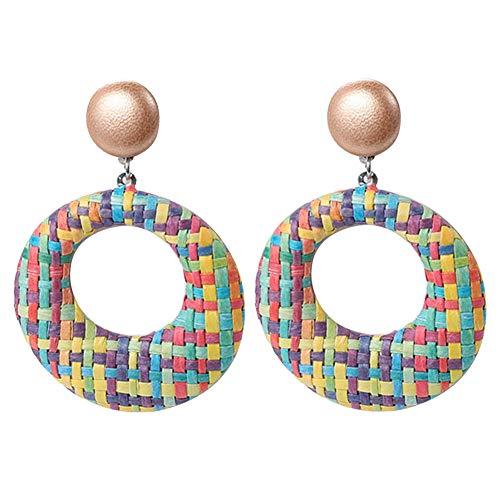 Yamalans Boho Women Handmade Hollow Round Dangle Ear Jacket Earrings Set Dangle Stud Earrings Jewelry Women Girls Gifts Multicolor