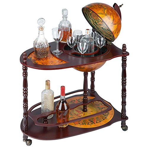 - Design Toscano SJ33035 Old World Extended Shelf Italian Replica Globe Bar Cart, Tan