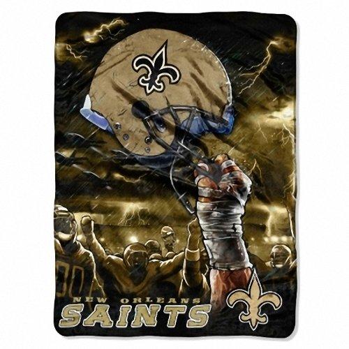 The Northwest Company New Orleans Saints Royal Plush Raschel Twin Throw Blanket 60