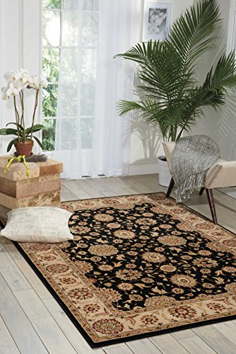 Nourison Persian Crown (PC002) Black Rectangle Area Rug, 3-Feet 9-Inches by 5-Feet 9-Inches (3'9