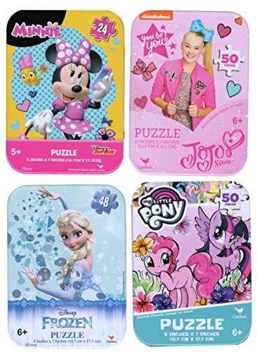 4 Collectible Puzzles Tins for Girls Ages 5+ 6+ Bundle of 4 Puzzles - Frozen Elsa, Minnie Mouse, JoJo Siwa, and My Little Pony Gift Set (Gift Set Pony)