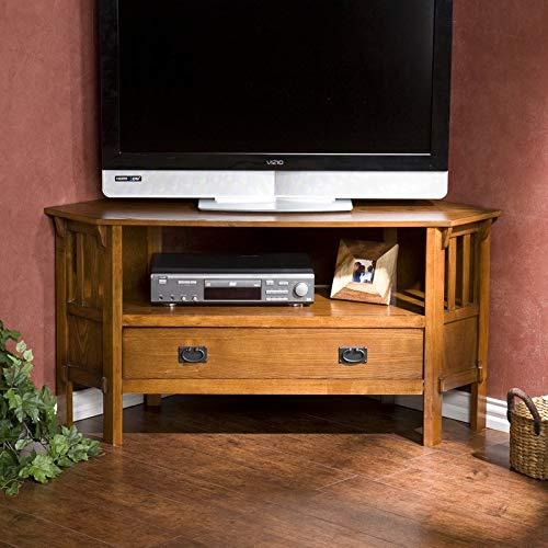 Cosmos eStore Wooden TV Stand with Shelf Drawer Storage Cabinet Corner Oak Finish Living Room Bedroom Home Furniture