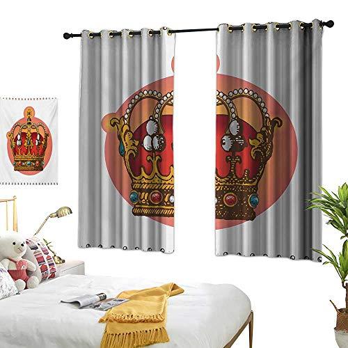 (Warm Family lace Curtains Queen,Victorian Baroque Style Crown Design Coronet Adornments Engravings Emperor Monarch,Multicolor 84