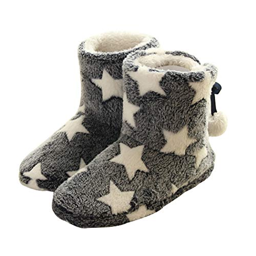- Slippers Booties for Women Ladies Girls Fleece Plush with Pom Poms Blue 8-8.5 M US