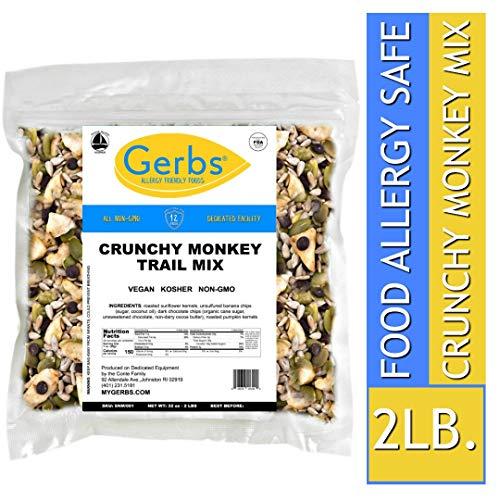 (Gerbs Crunchy Monkey Snack Mix, 2 LBS. - Food Allergy Safe & Non GMO -Vegan & Kosher - Sweetened Banana Chips, Pumpkin Seeds, Sunflower Seeds, Dark Chocolate Chips)