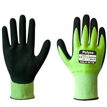 Polyco Grip It Oil C5 Mens Work Gloves Cut 5 Resistant Hi Vis Green