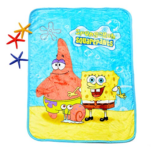 "HOLY HOME Children's Flannel Fleece Blanket Throw Anime Figures 60""x80"" Spongebob"