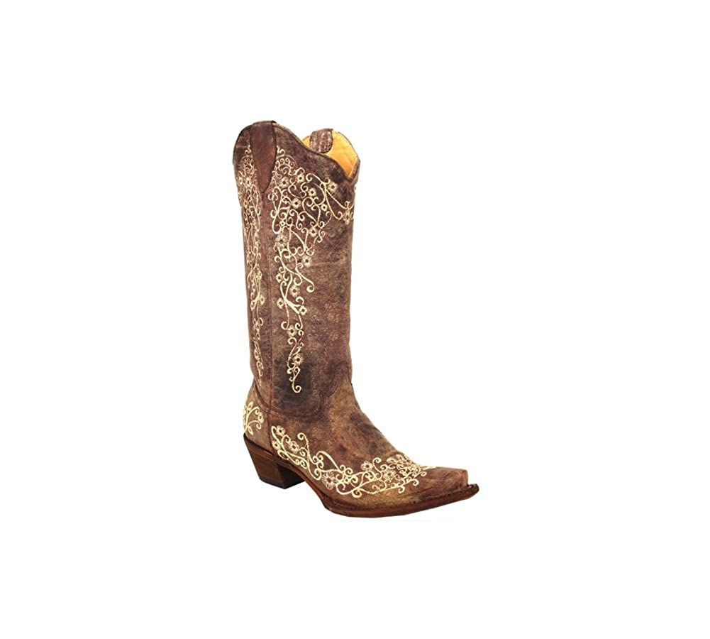 a51bca345 Amazon.com   Corral Ladies Brown Crater Bone Embroidery Western Boot    Mid-Calf