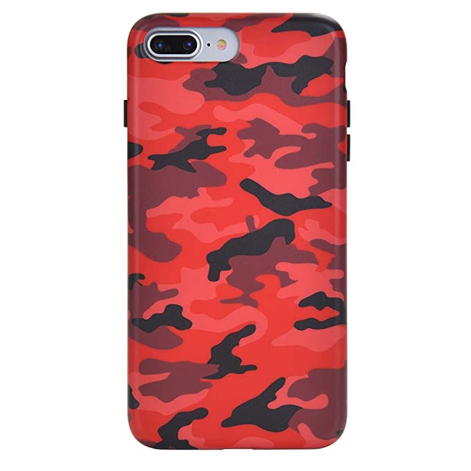 timeless design beb02 06827 Red Camo iPhone 8 Plus Case/iPhone 7 Plus Case - Premium Protective Cover -  Cool Phone Cases for Girls & Men [Drop Test Certified]