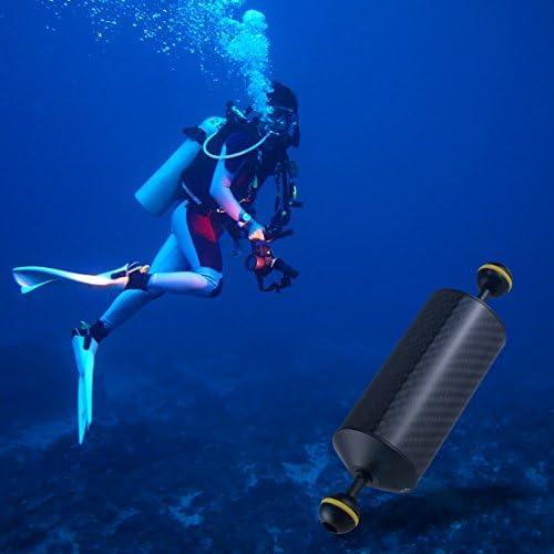 KANEED 水中撮影機材 ダイビングアクセサリー 8.86インチ22.5 cm長さ60 mm直径デュアルボール炭素繊維フローティングアーム、ボール直径:25 mm、浮力:300 g