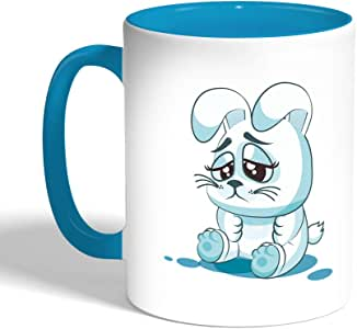 Printed Coffee Mug, Turquoise Color, Rabbit