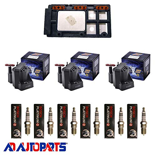 AD Auto Parts Coil Pack - Herko LX364 Ignition Control Module + 3 Herko B005 Ignition Coils + 6 4304 Spark Plugs ()