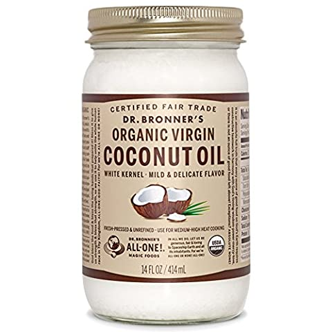 Dr. Bronner's Organic Virgin Coconut Oil. Unrefined White Kernel Coconut Oil Tub. (14 oz. Glass - 14 Oz Glass Jar