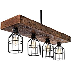 Wooden Farmhouse Light Rustic Decor Chandelier – Reclaimed Wood from Early 1900s - Great Industrial Chic Lighting for Kitchen, Bar, Island, Dining Room, Foyer, Vintage Edison Cages – Four Lights