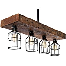 Reclaimed Wood Farmhouse Decor Rustic Chandelier - Wood From Early 1900s - Kitchen Island, Dining Room, Vintage Edison Cages (Reclaimed)