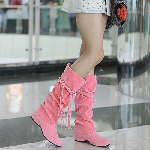 Damen Stiefeletten, SHOBDW Damen erhöhen Plattformen Oberschenkel hohe Tessals Stiefel Motorrad Schuhe Rosa