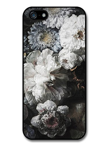 Rustic Retro Vintage Floral Painting Pattern in Black and White case for iPhone 5 5S