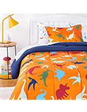 AmazonBasics Kids Easy-Wash Microfiber Bed-in-a-Bag Bedding Set
