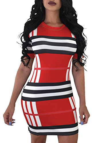 HannahZone Women Bodycon Strapless Sexy Off Shoulder Backless Cut Out Skinny Mimi Dress Colorful Casual Tube Outfits Summer Red
