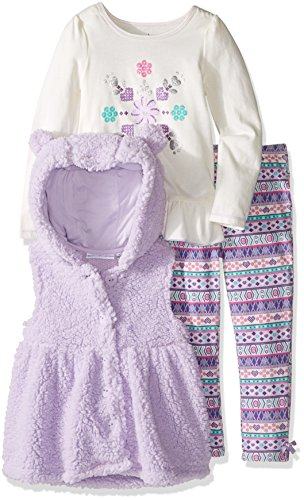 Kids Headquarters Baby 3 Pieces Sherpa Hooded with Ears Vest Pants Set, Lilac, 18 Months