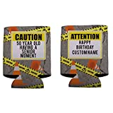 Custom 50th Birthday Can Cooler- Caution 50 Year Old Having A Senior Moment (96)