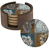 Thirstystone Absorbent Drink Coasters with Holder Gift Set, Floral Sequence