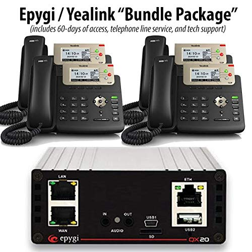 Epygi QX20 - PBX Business Phone System (Cloud/Hosted / Co-Located Version) w 4 Yealink SIP-T23G ()