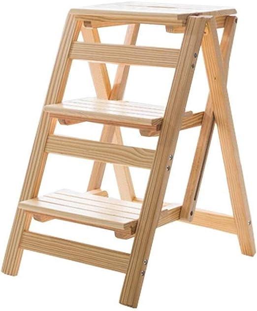 Bqy Las escaleras de Mano multifunción Escalera Plegable Silla Taburete de Madera Estanterías Escalera Home Biblioteca 3 Pasos 150 kg Capacidad Pasos (Color Natural) Plegables: Amazon.es: Hogar