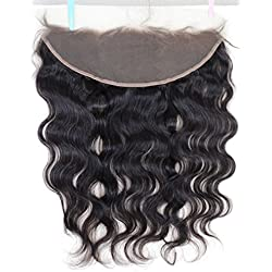 """Chantiche Free Part Ear to Ear 13x4"""" Lace Closure with Baby Hair Brazilian Virgin Human Hair Body Wave full Lace Frontal clsoures Bleached Knots 14inches Natural Color"""