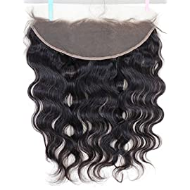 Chantiche 13×6″ Lace Closure Straight Human Hair Pre Plucked Full Lace Frontal Brazilian Remy Hair with Baby Hair Natural Color 20 Inches