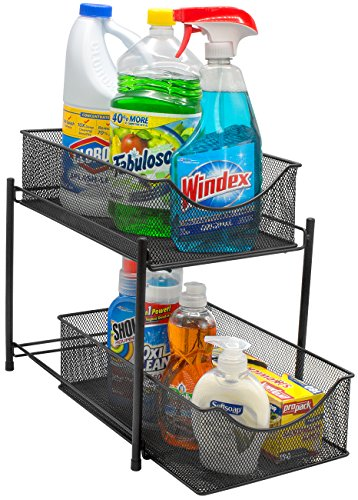 Sorbus 2 Tier Organizer Baskets with Mesh Sliding Drawers -Ideal Cabinet, Countertop, Pantry, Under the Sink, and Desktop Organizer for Bathroom, Kitchen, Office, etc.-Made of Steel (Black)
