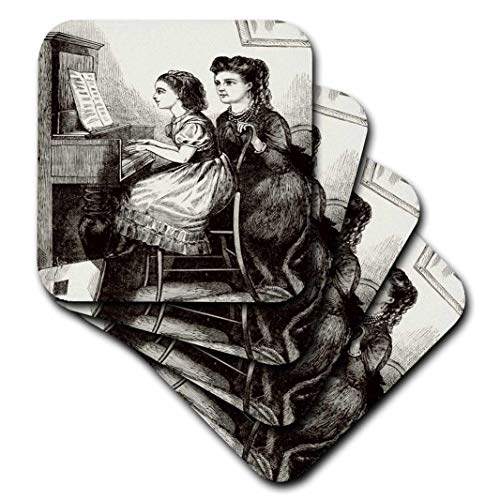 (3dRose CST_47913_3 Black N White Victorian Piano Lessons Ceramic Tile Coasters, (Set of 4))
