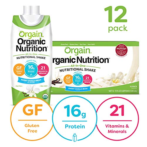Orgain Organic Nutritional Shake, Sweet Vanilla Bean - Meal Replacement, 16g Protein, 21 Vitamins & Minerals, Gluten Free, Soy Free, Kosher, Non-GMO, 11 Ounce, 12 Count (Packaging May Vary) (Best Way To Store Vanilla Beans)