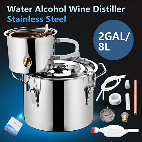 SUNCOO Water Wine Distiller Alcohol Moonshine Still Spirits Boiler Wine Making Equipment Kit for Home Brewing,Stainless Copper (2 Gal/8 Liter) by SUNCOO (Image #1)
