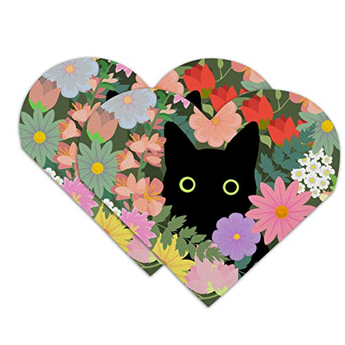 Black Cat Hiding in Spring Flowers Heart Faux Leather Bookmark - Set of 2