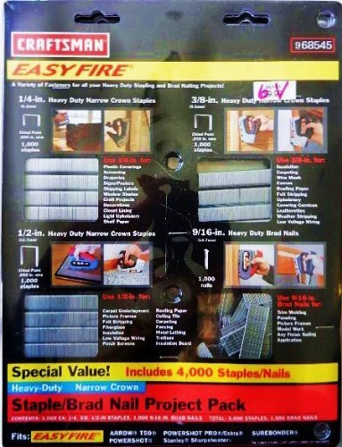 Craftsman Staple Guns - Craftsman Easy Fire 4,000 Staples/Nails Assortment Pack