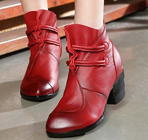 Women 35 Shoes Court Martin Round 40 Zipper Boots Casual Dress Boots Buckle Heel Comforty Eu Shoes Retro Red Toe Mother Size Stitching 6cm Chunkly Chinese rqaABr