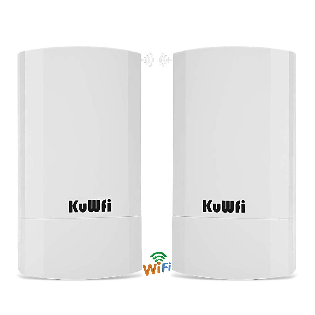 KuWFi 2-Pack 300Mbps Wireless Outdoor CPE Kit Indoor Outdoor Point-to-Point Wireless Access Point Bridge Supports 1-2KM Transmission Distance Solution for PTP/PTMP (Pre-Program WDS) by KuWFi