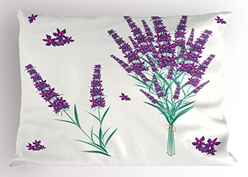 Lavender Pillow Sham by Lunarable, Aromatic Blossoms Bouquet from Provence France Fragrant Herbal Flora, Decorative Standard Queen Size Printed Pillowcase, 30 X 20 Inches, Purple Magenta (Provence Queen Bed)