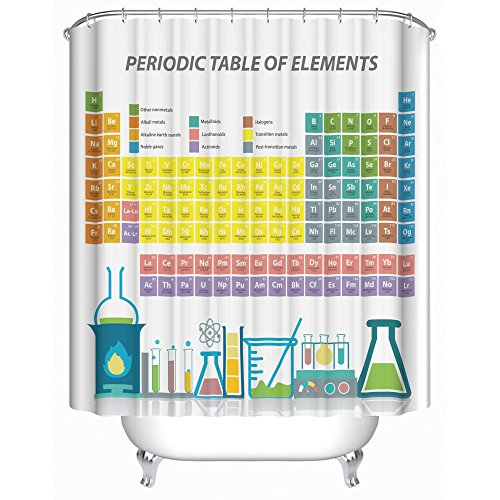 Periodic Table of Elements Shower Curtain Set Updated in 2018 with 12 Sturdy Rings 71 X 71 Inches Premium Quality Woven Polyester Fabric Odorless PVC Free Non-Toxic Water Repellent Mildew - Periodic Table Shower
