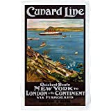 Cunard line poster c 1914 - Microfibre Tea Towel - Microfibre Tea Towel - 10170932 - Makes an Ideal Gift by personalised4u